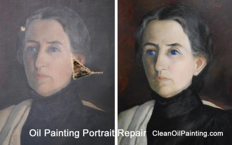 Before and after of damaged oil painting portrait